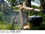 Купить «Чугунный котел на костре», фото № 948989, снято 12 июня 2009 г. (c) Хижняк Сергей / Фотобанк Лори