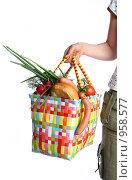 Купить «Хозяйственная сумка с продуктами», фото № 958577, снято 1 июля 2009 г. (c) Григорьева Любовь / Фотобанк Лори