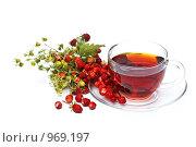 Купить «Чай с земляникой на белом фоне», фото № 969197, снято 28 июня 2009 г. (c) Лисовская Наталья / Фотобанк Лори