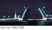 Купить «Разведённый на ночь Дворцовый мост в Санкт-Петербурге», фото № 992169, снято 20 июля 2009 г. (c) Давид Мзареулян / Фотобанк Лори