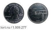 1/4 доллара; 25 центов; 2001 г. Стоковое фото, фотограф Евгений Зиновьев / Фотобанк Лори
