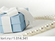 Купить «Голубая коробочка с бантом на фоне жемчужного ожерелья», фото № 1014341, снято 4 августа 2009 г. (c) Светлана  Гордачева / Фотобанк Лори