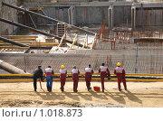 Купить «Рабочие на стройплощадке», фото № 1018873, снято 20 сентября 2019 г. (c) Losevsky Pavel / Фотобанк Лори