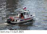 Купить «Катер МЧС на москве-реке», фото № 1021801, снято 19 июля 2009 г. (c) Dmitry Nabokov / Фотобанк Лори