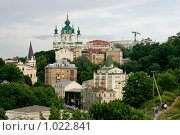 Киев, вид с Замковой горы на Андреевский спуск (2009 год). Стоковое фото, фотограф Алексей Котлов / Фотобанк Лори