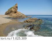 Причудливая скала Воин на мысе Великан, южный Сахалин,побережье Охотского моря. Стоковое фото, фотограф RedTC / Фотобанк Лори