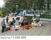 Купить «Торговля дачными овощами на ступеньках магазина», фото № 1036605, снято 16 августа 2009 г. (c) Геннадий Соловьев / Фотобанк Лори