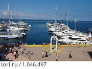 Пристань с современными яхтами и лодками (2009 год). Редакционное фото, фотограф Федор Болба / Фотобанк Лори