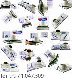 Купить «Коллаж- коллекция из ежедневников, бизнес-диаграмм. Изолировано.», фото № 1047509, снято 21 июля 2019 г. (c) Vitas / Фотобанк Лори