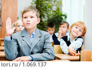 Купить «Ученик начальной школы с поднятой вверх рукой», фото № 1069137, снято 20 августа 2009 г. (c) Евгений Захаров / Фотобанк Лори