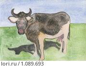 Купить «Корова и тень. рисунок», иллюстрация № 1089693 (c) Ольга Лерх Olga Lerkh / Фотобанк Лори