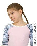 Купить «Портрет морщащейся девочки подростка изолировано на белом», фото № 1090877, снято 18 апреля 2009 г. (c) pzAxe / Фотобанк Лори