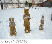 Купить «Деревянные скульптуры», фото № 1091165, снято 28 декабря 2008 г. (c) Сергей Карцов / Фотобанк Лори