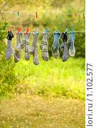 Купить «Носки висят на сушке», фото № 1102577, снято 12 сентября 2009 г. (c) Ксения Крылова / Фотобанк Лори