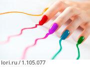 Купить «Женские ногти, оставляющие разноцветные следы», фото № 1105077, снято 31 августа 2009 г. (c) chaoss / Фотобанк Лори