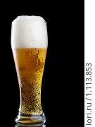 Купить «Бокал пива на черном фоне», фото № 1113853, снято 2 сентября 2009 г. (c) Роман Сигаев / Фотобанк Лори