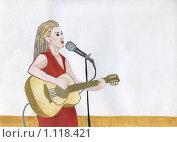 Купить «Певица с гитарой, рисунок», иллюстрация № 1118421 (c) Ольга Лерх Olga Lerkh / Фотобанк Лори