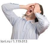 Расстроенный мужчин держится руками за голову. Стоковое фото, фотограф Хижняк Екатерина / Фотобанк Лори