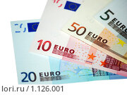 Купить «Европейская валюта Евро на белом фоне», фото № 1126001, снято 22 февраля 2008 г. (c) Роман Бородаев / Фотобанк Лори