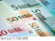 Купить «Банкноты Евро», фото № 1126005, снято 22 февраля 2008 г. (c) Роман Бородаев / Фотобанк Лори