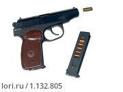 Купить «Пистолет Макарова (резинострел) на белом фоне», фото № 1132805, снято 28 марта 2009 г. (c) Валерий Лифонтов / Фотобанк Лори