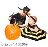 Купить «Дети играют с большой тыквой», фото № 1150969, снято 29 октября 2008 г. (c) Ирина Кожемякина / Фотобанк Лори