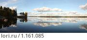 Отражение неба в спокойной воде. Панорама. Стоковое фото, фотограф Маснюк Мария / Фотобанк Лори
