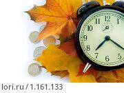 Купить «Будильник, деньги и осенние листья», фото № 1161133, снято 11 октября 2009 г. (c) Куликова Татьяна / Фотобанк Лори