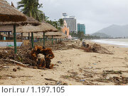 Купить «Вид пляжа г. Нячанг (Вьетнам) после тайфуна Миринаэ», фото № 1197105, снято 5 ноября 2009 г. (c) Сергей Пономарев / Фотобанк Лори
