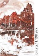 Купить «Осенний пейзаж с рекой и уткой», иллюстрация № 1198977 (c) Анастасия Сердюкова / Фотобанк Лори