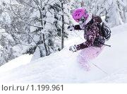 Купить «Катание на горных лыжах в мягком снегу», фото № 1199961, снято 17 января 2009 г. (c) Петр Кириллов / Фотобанк Лори