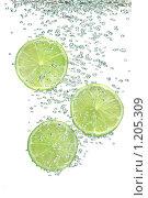 Купить «Дольки лайма в воде с пузырьками воздуха», фото № 1205309, снято 9 сентября 2009 г. (c) Денис Ларкин / Фотобанк Лори
