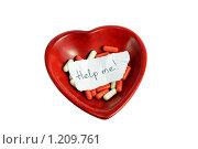 Просьба о помощи в красном сердце. Стоковое фото, фотограф Елена Гришина / Фотобанк Лори