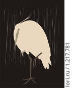 Цапля под дождем. Традиционный японский рисунок. Стоковая иллюстрация, иллюстратор Бридько Анна / Фотобанк Лори