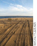 Купить «Колея на пляже», фото № 1223425, снято 11 ноября 2009 г. (c) Усова Светлана  Юрьевна / Фотобанк Лори