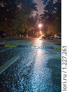 """Мокрая ночная мостовая с """"лежачим полицейским"""" (2007 год). Стоковое фото, фотограф Сергей Малеинов / Фотобанк Лори"""