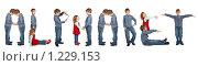 """Купить «Дети показывают слово """"Alphabet"""". Коллаж», фото № 1229153, снято 17 сентября 2019 г. (c) Losevsky Pavel / Фотобанк Лори"""