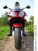 Купить «Мотоциклист», фото № 1231313, снято 9 сентября 2009 г. (c) Losevsky Pavel / Фотобанк Лори