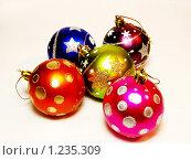 Новогодние игрушки. Пять шариков. Стоковое фото, фотограф Аркадий Кожуренко / Фотобанк Лори