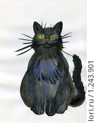 Купить «Черный кот, рисунок», иллюстрация № 1243901 (c) Ольга Лерх Olga Lerkh / Фотобанк Лори