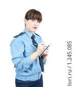 Купить «Девушка-милиционер записывает что-то в блокнот», фото № 1245085, снято 15 ноября 2009 г. (c) Яков Филимонов / Фотобанк Лори