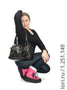 Купить «Девушка в розовых сапогах», фото № 1251149, снято 29 ноября 2009 г. (c) Кекяляйнен Андрей / Фотобанк Лори