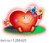 """Купить «Открытка """"сердце с цветком и бабочкой""""», иллюстрация № 1258621 (c) Павлова Елена / Фотобанк Лори"""