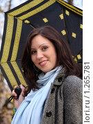 Купить «Девушка под зонтом», фото № 1265781, снято 21 октября 2009 г. (c) Иванов Аркадий Николаевич / Фотобанк Лори