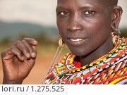 Купить «Красивая масайская женщина в традиционных украшениях», фото № 1275525, снято 24 октября 2008 г. (c) Станислав Белоглазов / Фотобанк Лори