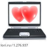 Купить «Открытый ноутбук с изображением сердец», иллюстрация № 1276937 (c) Alperium / Фотобанк Лори