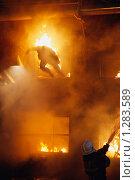 Купить «Силуэт человек в огне, прыгающего из окна. Пожарный тушит огонь водой из брандспойта.», фото № 1283589, снято 7 декабря 2009 г. (c) Татьяна Белова / Фотобанк Лори