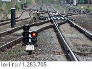 Красный свет светофора на железнодорожных путях. Стоковое фото, фотограф Ярослава Синицына / Фотобанк Лори