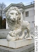 Купить «Скульптура льва перед Елагиным дворцом», фото № 1320049, снято 29 октября 2009 г. (c) Александр Секретарев / Фотобанк Лори