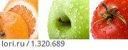 Триплих. Апельсин, яблоко , помидор. Стоковое фото, фотограф Суров Антон / Фотобанк Лори